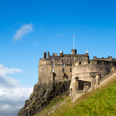 A veiw of Edinburgh Castle, an historic fortress perched on Castle Rock, Scotland