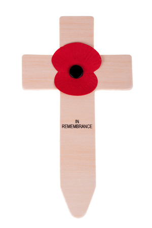 Remembrance day cross with poppy photo