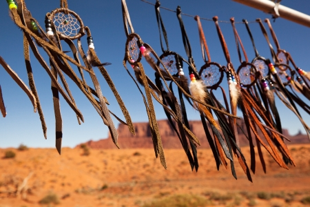 native american: Dreamcatchers in a breeze, Monument Valley, Utah, USA. Intentional shallow depth of field.
