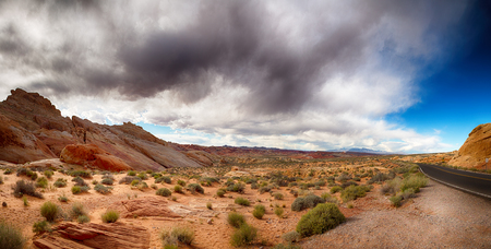 Panorama of the Valley of Fire with dramatic sky. Nevada,  photo