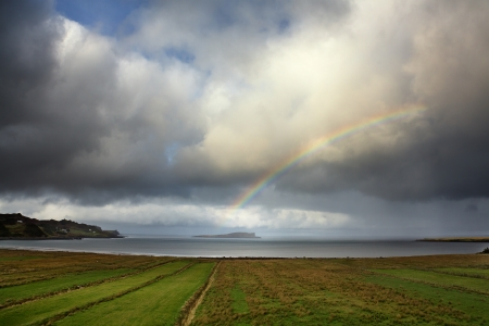 Rainbow over Staffin Iland, Ilse of Skye, Inner Hebrides, Scotland  photo