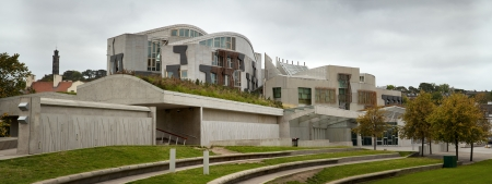A panorama of the exterior of the Scottish Parliament building, Edinburgh, Scotland.