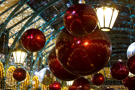 covent: Christmas decorations in Covent Garden, London, UK