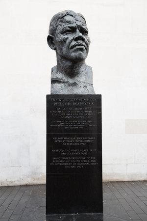 mandela: LONDON, UK - Nov 20  Nelson Mandela bronze statue, South Bank, London, UK  On November 20 2013, in London, UK