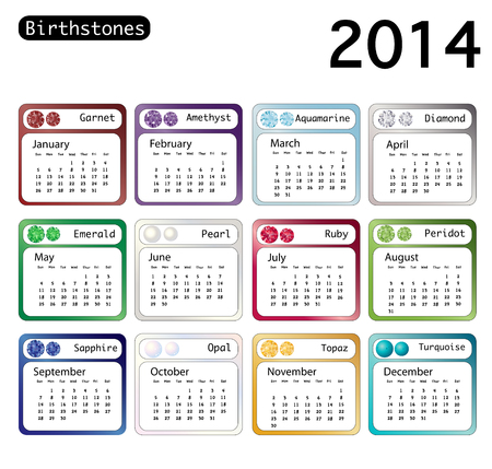 A 2014 calendar showing birthstones for each month  EPS10 vector format