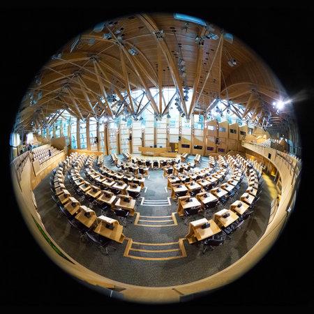 scottish parliament: EDINBURGH, UK - Oct 11:Fish eye view of the interior of the Scottish Parliament building. On October 11, 2013 in Edinburgh, UK