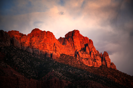 Stormy sky in Zion National Park at sunset, Utah, USA