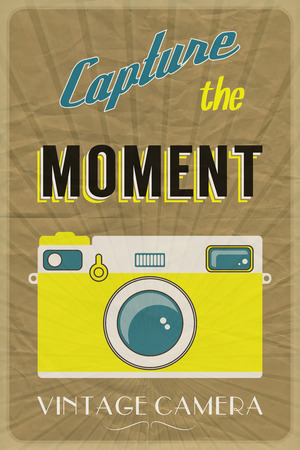 Retro photographic poster with the slogan Capture the Moment, on crumpled brown paper background   Vector