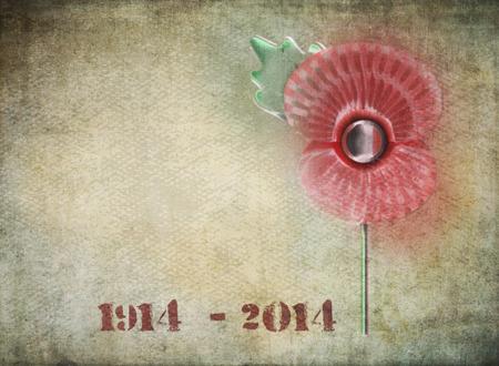 dia de muerto: Estilo Graffiti d�a de la conmemoraci�n de la amapola en el fondo del grunge fechas en 1914-2014 en el estilo de la plantilla para conmemorar el Centenario de la Primera Guerra Mundial Foto de archivo