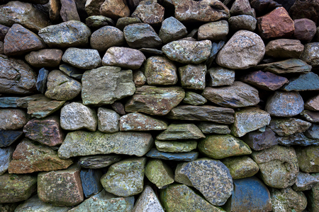 drystone: Detail of an old dry-stone wall in Snowdonia National park  Stock Photo