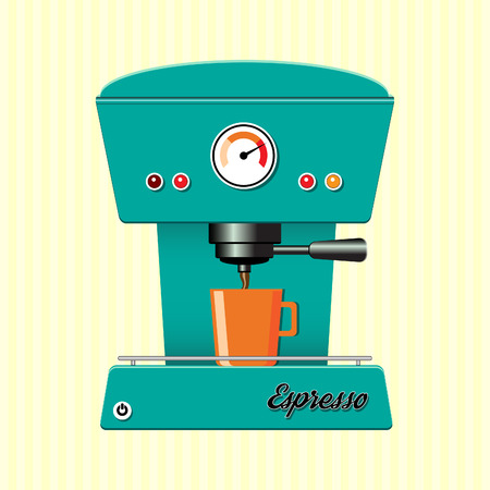 Retro style coffee maker on candy-stripe background. EPS10 vector format photo