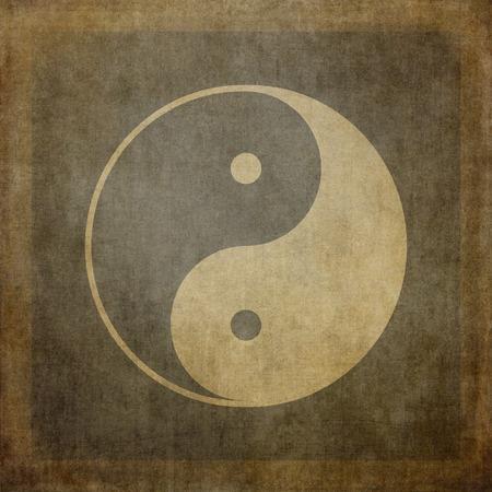 Yin yang symbol on vintage, textured background