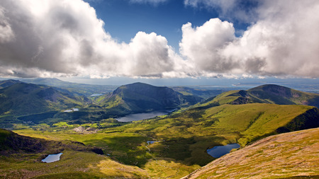 snowdonia: The mountains and lakes of Snowdonia, looking from Mount Snowdon from the Llanberis Pass