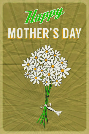 Retro poster with a posy of daisies and Happy Mother Vector