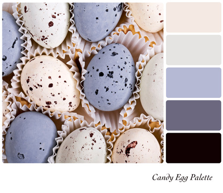 complimentary: A background of candy eggs in a colour palette with complimentary colour swatches