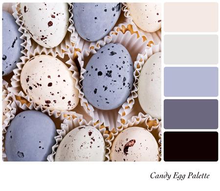 paletas de caramelo: Un fondo de los huevos de caramelo en una paleta de colores con muestras de color de cortesía