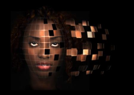 Futuristic portrait of a beautiful African American woman photo