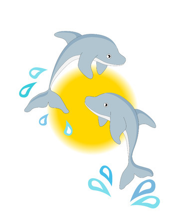 A pair of leaping dolphins against the sun.   Vector