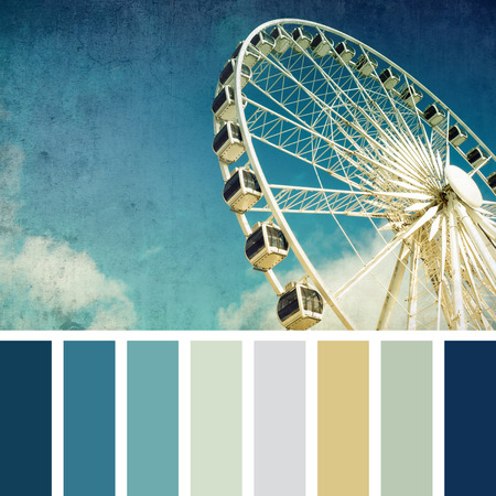 amusment: A ferris wheel, vintage style,  in a colour palette with complimentary colour swatches