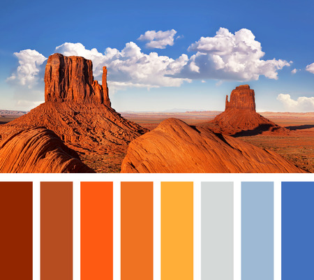 complimentary: The iconic Mitten Butte rock formations of Monument Valley, in a colour palette with complimentary swatches