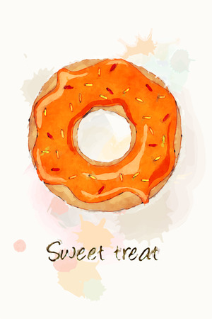 frosting: An iced doughnut with orange frosting and sprinkles, watercolour effect design. EPS10 vector format