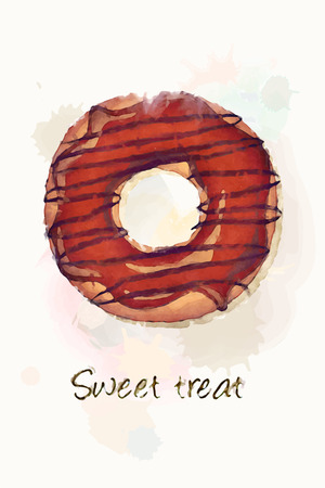 chocolate swirl: A chocolate iced doughnut, watercolour effect design. EPS10 vector format Illustration