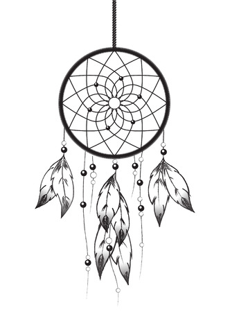 Black and white illustration of a Dreamcatcher.  Vector