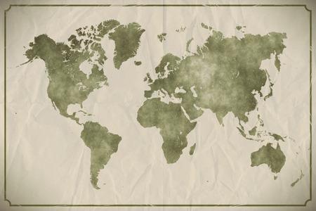 Aquarel wereld kaart op de leeftijd, verfrommeld papier achtergrond.