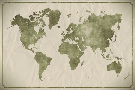vintage parchement: Watercolour world map on aged, crumpled paper background. Illustration