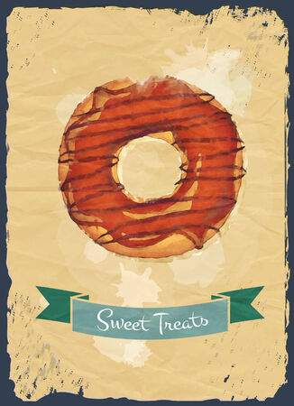 donut style: Retro style poster with chocolate glazed donut and ribbon banner.  Stock Photo