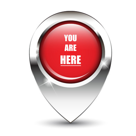 sign here: You are here message on glossy map pin, against white background with shadow. EPS10 vector format Illustration