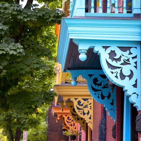 Colour porches and baconies on a street in Montreal, Canada
