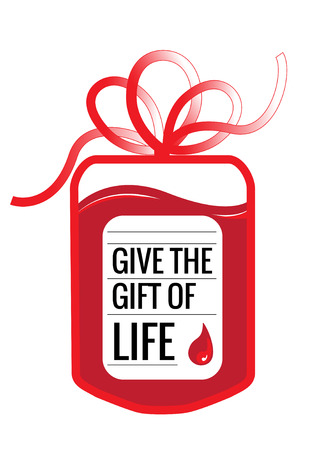 A blood donation bag with tube shaped as a gift bow and the slogan: Give the Gift of Live.