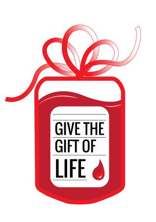 ギフト弓とスローガンとして形管と血寄付バッグ: ライブのギフトを与えます。 写真素材