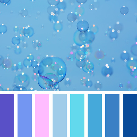 soap bubbles: A background of delicate soap bubbles over a blue sky, in a colour palette with complimentary colour swatches