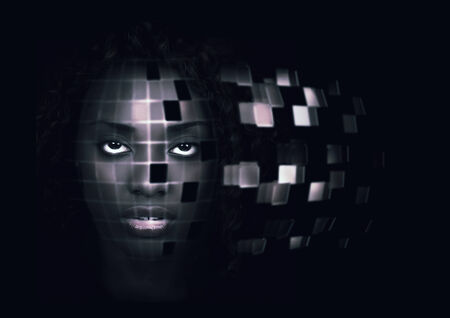 Futuristic portrait of a beautiful African American woman. Cool tones. photo