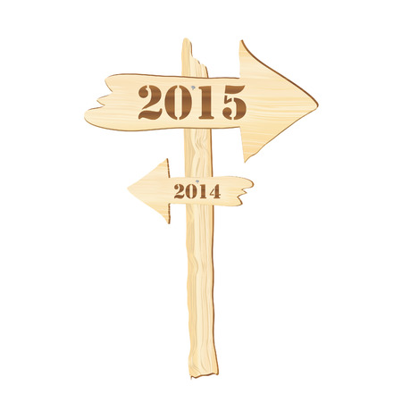 insertion: A signpost showing the way from 2014 to 2015. Rustic style. Fully editable EPS10 vector format to allow insertion of your own text. Stock Photo
