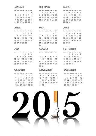 Risoluzione del nuovo anno Smettere di fumare con il Calendario 1 nel 2015 di essere sostituito da una sigaretta spense.