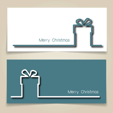 turquiose: Christmas banners in turquiose and white, with simple continuous line and drop shadow  creating a Christmas gift. EPS10 vector format
