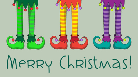 The legs and shoes of Santa\'s elves. 스톡 콘텐츠