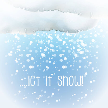 let it snow: Watercolour snow cloud with snowflakes and the slogan Let it Snow. EPS10 vector format.