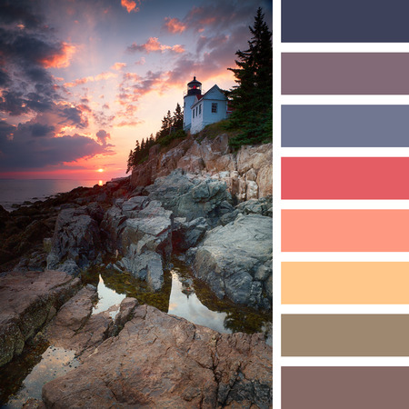 complimentary: Sunset at Bass Harbor Lighthouse, Mount Desert Island, Maine, USA, with a colour palette of complimentary colour swatches Stock Photo