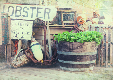 lobster pot: texture image of lobster pots, buoys and fishing equipment on the quayside. Bar Harbor, Maine, United States. Stock Photo
