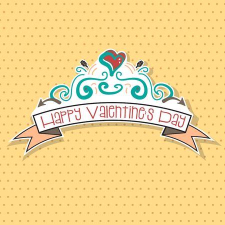 dessin noir et blanc: La main Bonne Saint Valentin dessin�e griffonnages avec point de polka. Banque d'images