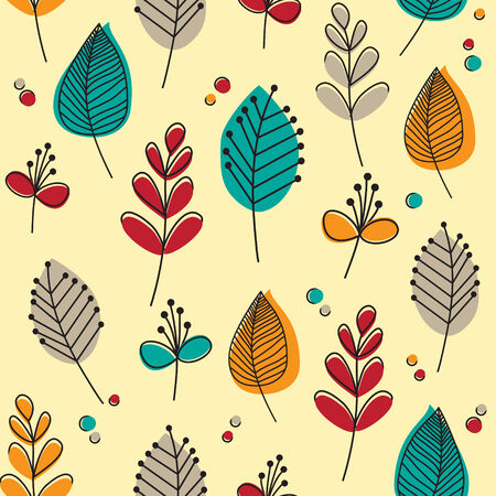 taupe: Seamless pattern of flowers and leaves in flat style and retro colours. vector format. Stock Photo