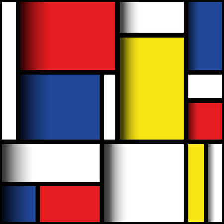primary colours: Geometric design in primary colours, with three dimensional layered effect. Mondrian style. EPS10 vector format.