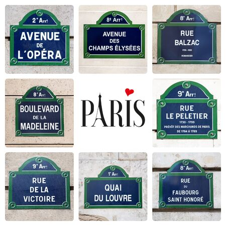 Love Paris concept. A collage of Parisian street signs, with a variety of famous locations, and the word Paris, with the A being formed from the Eiffel Tower and a heart dotting the I.