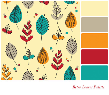 color palette: A flat design background of retro leaves and flowers, in a colour palette with complimentary colour swatches. EPS10 vector format. Stock Photo