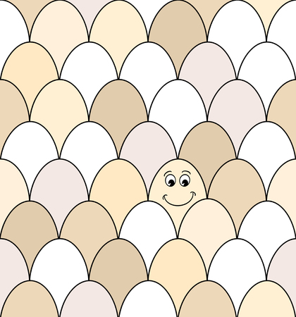 breakfast smiley face: Seamless pattern of rows of brown and white chicken eggs. One has a smiley face drawn on it. EPS10 vector format Stock Photo