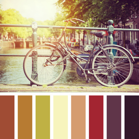 color palette: Bicycle on a bridge in sunlight, Amsterdam. In a colour palette with complimentary colour swatches.